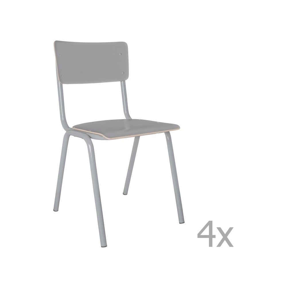 Produktové foto Sada 4 šedých židlí Zuiver Back to School