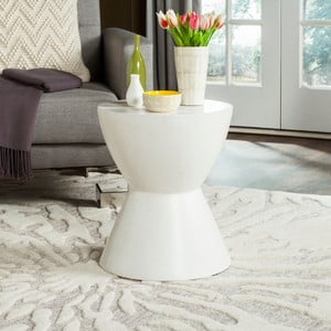 Bílý betonový zahradní stolek vhodný do exteriéru Safavieh Baywood