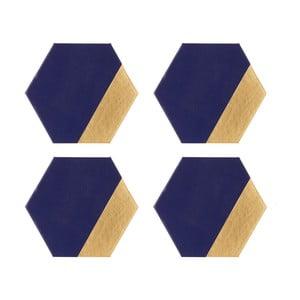 Sada 4 koženkových podtácků Premier Housewares Navy, 10 x 11