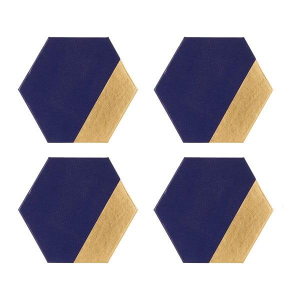 Sada 4 koženkových podtácků Premier Housewares Navy, 10 x 11 cm
