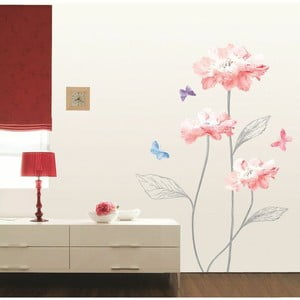Autocolant Ambiance Light Pink Flowers And Butterflies