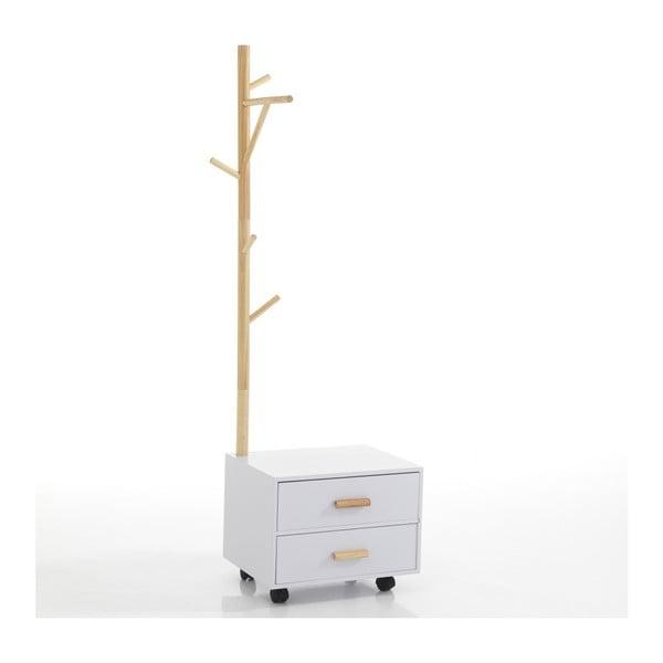 Bílý noční stolek s věšákem na pravé straně Tomasucci Tree