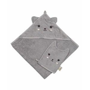 Set šedého ručníku a rukavice na koupání Nattiot