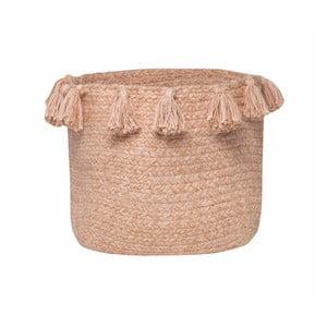 Pudrově růžový bavlněný ručně tkaný box Nattiot, Ø 25 cm