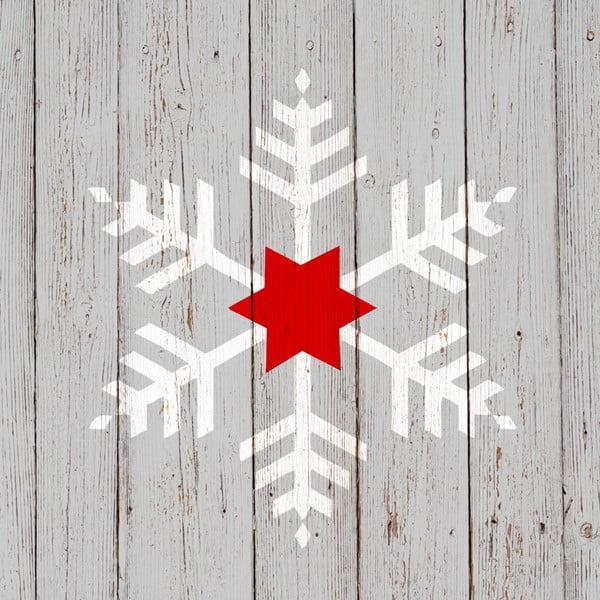 Balení 10 papírových ubrousků s vánočním motivem PPD Snowflake On Wood