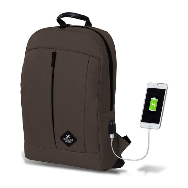 Rucsac cu port USB My Valice GALAXY Smart Bag, maro închis