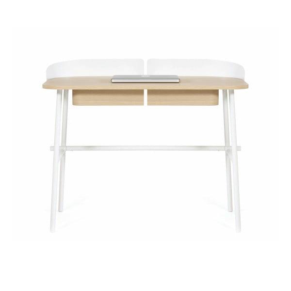 Bílý pracovní stůl v dekoru dubového dřeva HARTÔ Victor, 100x60cm