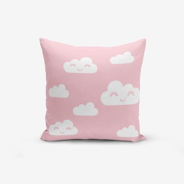 Față de pernă cu amestec din bumbac Minimalist Cushion Covers Pink Background Cloud, 45 x 45 cm