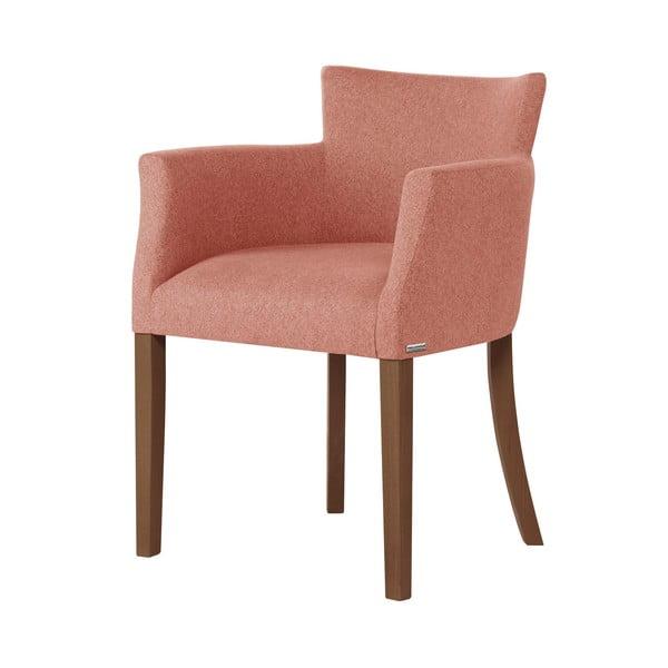 Scaun din lemn de fag cu picioare maro închis Ted Lapidus Maison Santal, roz