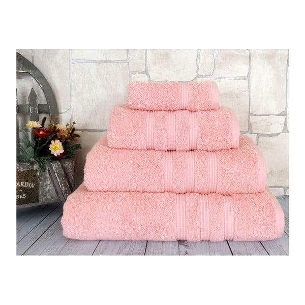 Lososově růžový ručník z česané bavlny Irya Home Classic, 50x90cm