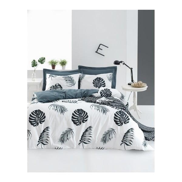 Lenjerie de pat cu cearșaf din bumbac ranforce, pentru pat dublu Mijolnir Dominik White, 160 x 220 cm