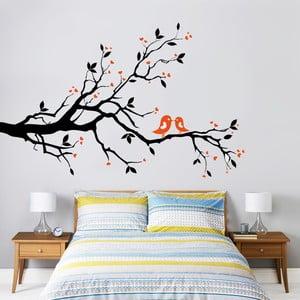 Samolepka na stěnu Větev a ptáčci, 60x90 cm