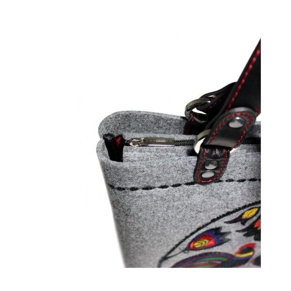 Plstěná vyšívaná taška na rameno i do ruky Folk Kohoutí