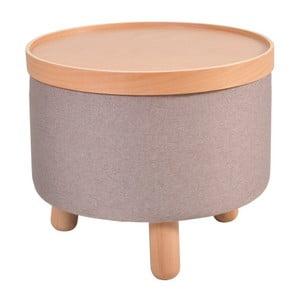 Hnědá stolička s detaily z bukového dřeva a odnímatelnou deskou Garageeight Molde, ⌀50cm