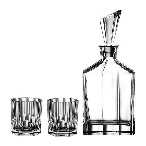 Zestaw karafki i 2 szklanek do whisky ze szkła kryształowego Nachtmann Aspen