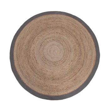 Covor de iută cu margine gri LABEL51 Rug, Ø 180 cm