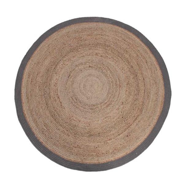 Jutový koberec se šedým okrajem LABEL51 Rug, ⌀180 cm