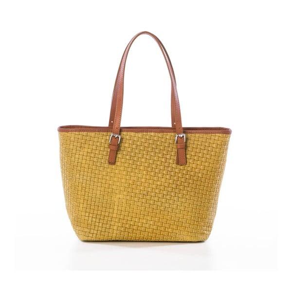 Žlutá kožená kabelka Federica Bassi Alya