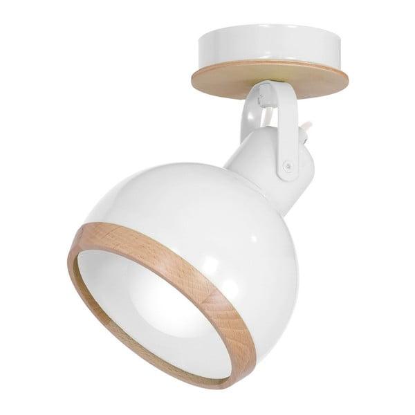 Oval fehér falilámpa fa részletekkel