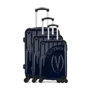 Sada 3 tmavě modrých cestovních kufrů na kolečkách VERTIGO Cadenas Integre