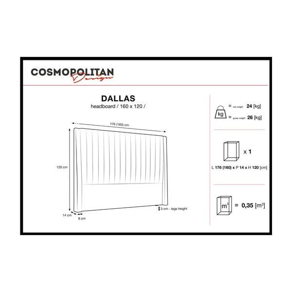 Šedobéžové čelo postele Cosmopolitan design Dallas, 160x120cm