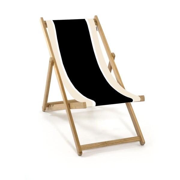 Skládací lehátko bez područek Beach, černobílé