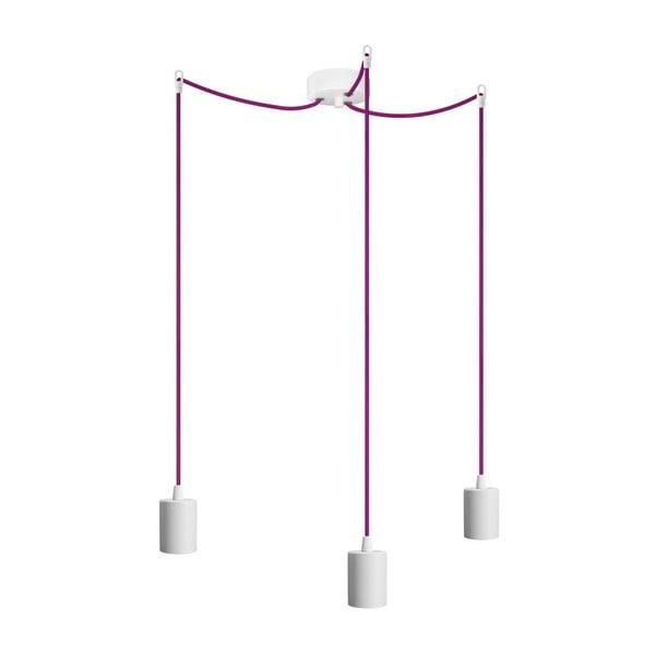 Tři závěsné kabely Cero, bílá/fialová/bílá