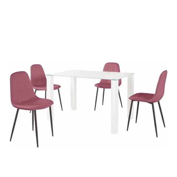 Sada jídelního stolu a 4 růžových židlí Støraa Dante, délka stolu 120cm
