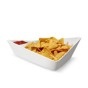 Dvojitá servírovací mísa Chip+Dip Bowl, bílá