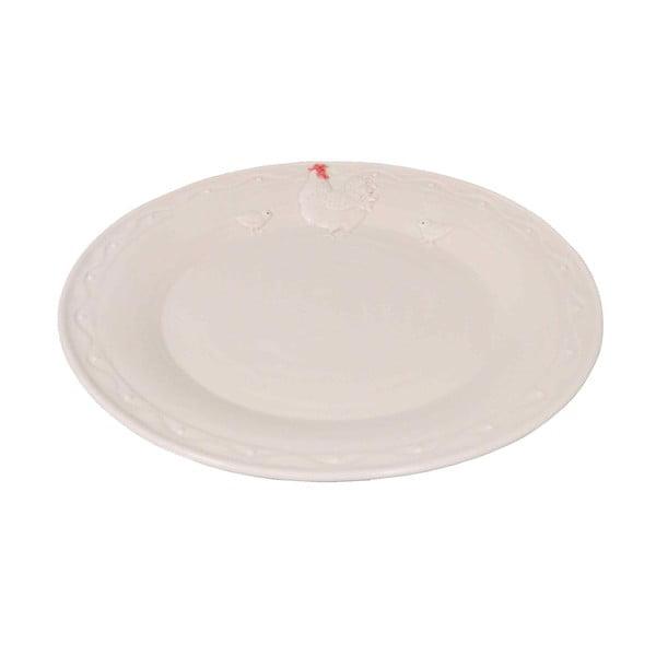 Bílý keramický talíř AnticLine Hen, ⌀ 25 cm