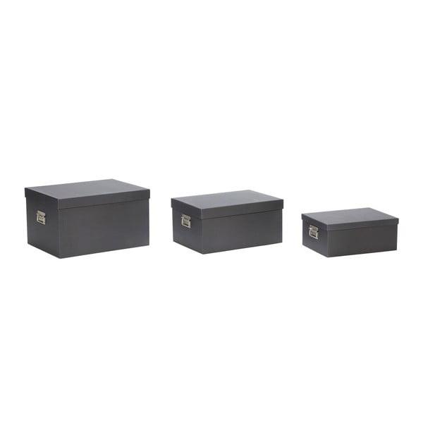 Set 3 cutii depozitare Hübsch Flossie, negru