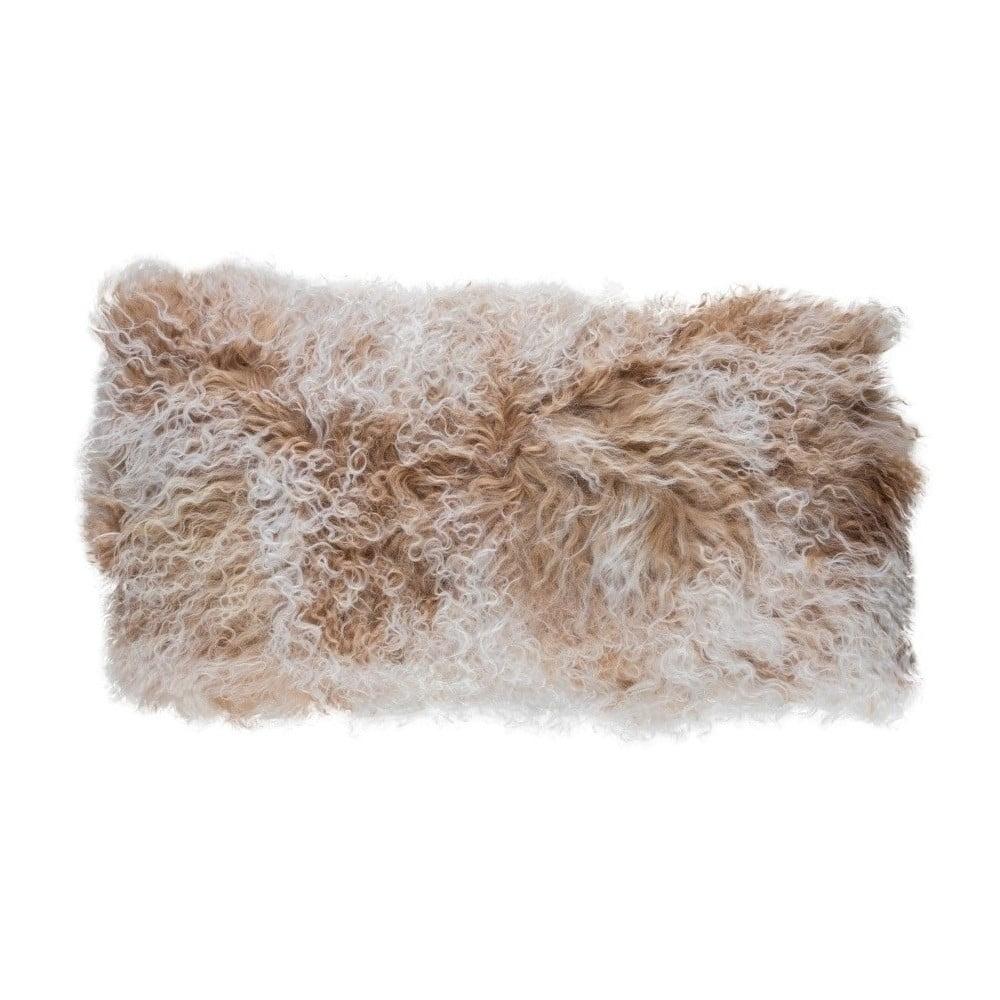 Béžový vlněný polštář z ovčí kožešiny Auskin Cormag, 28 x 56 cm