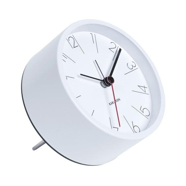 Ceas alarmă Karlsson Numbers, Ø 11 cm, alb