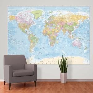 Velkoformátová tapeta Blue Map, 158x232cm
