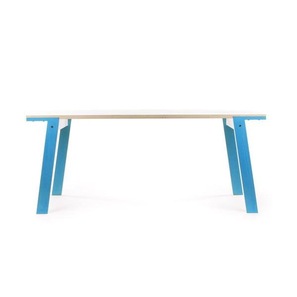 Modrý jídelní/pracovní stůl rform Flat, deska 180x80 cm