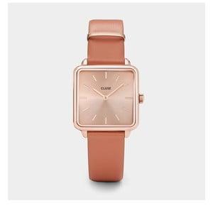 Dámské hodinky s hranatým ciferníkem v barvě rosegold a koženým řemínkem Cluse La Tétragone
