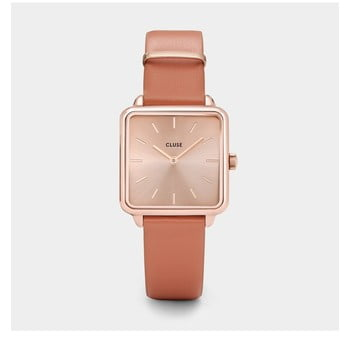 Ceas damă, cadran pătrat, curea din piele Cluse La Tétragone, auriu roz de la Cluse