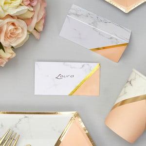 Sada 10 papírových jmenovek Neviti Gold Colour Block Marble