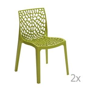 Sada 2 zelených jídelních židlí Castagnetti Apollonia