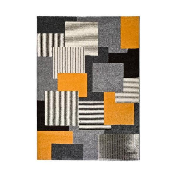 Covor Universal Leo Square, 160 x 230 cm, gri-portocaliu