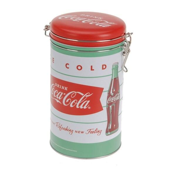 Kruhová kovová dóza s uzávěrem Drink Coca Cola, 11x20 cm