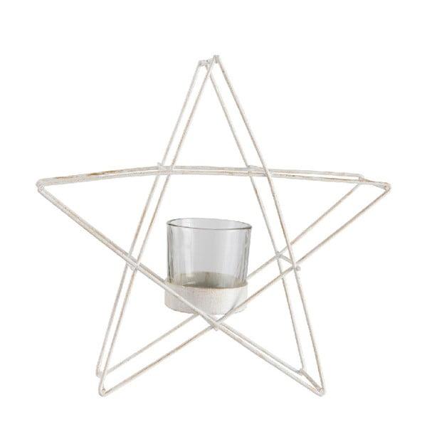 Biely svietnik J-Line Glitter Star