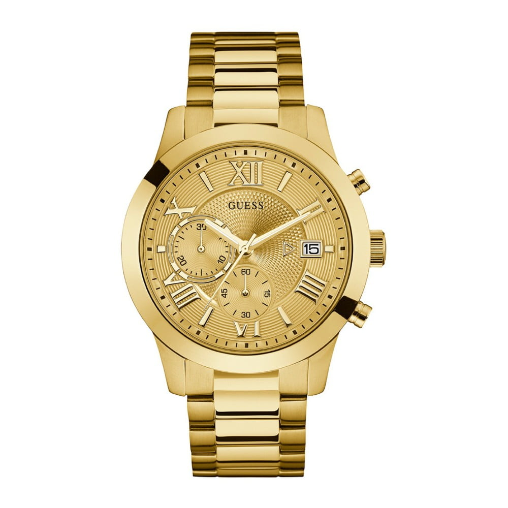 e4baee634 Pánské hodinky s páskem z nerezové oceli ve zlaté barvě Guess W0668G4