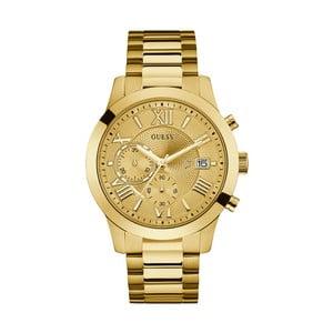Pánské hodinky s páskem z nerezové oceli ve zlaté barvě Guess W0668G4