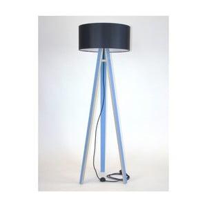 Lampadar albastru cu abajur negru și cablu negru Ragaba Wanda