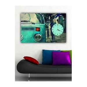 Obraz s hodinami Tyrkysové retro, 60x40 cm