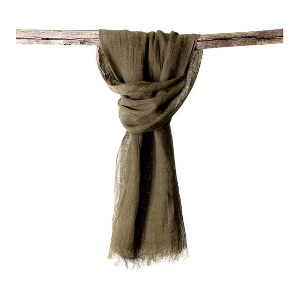 Lněný šátek Luxor 65x200 cm, zelenohnědý