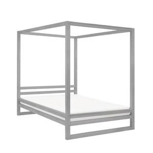 Šedá dřevěná dvoulůžková postel Benlemi Baldee, 200x180cm