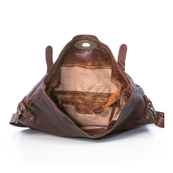 Tmavě hnědá kožená kabelka Federica Bassi Rana