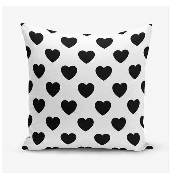 Szívecske mintás pamutkeverék párnahuzat, 45 x 45 cm - Minimalist Cushion Covers